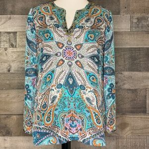 Silk Tunic Long Sleeve Paisley Print Sundance